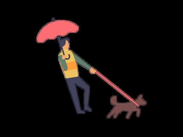 Man holding umbrella walking with his dog Illustration