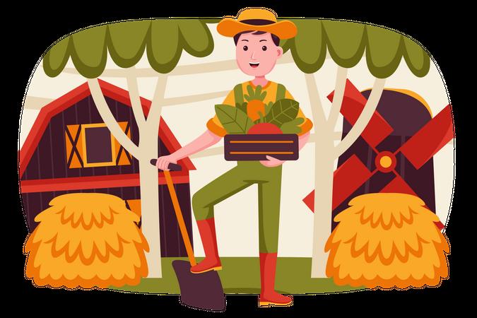 Man holding vegetables basket Illustration