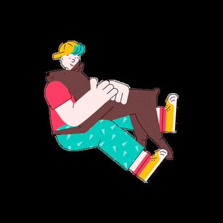 Man hugging his pet Illustration