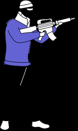 Man in balaclava mask with gun Illustration