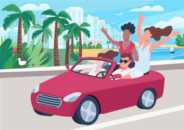 Man in car surrounded by girls Illustration