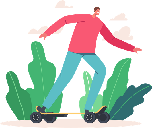 Man in Casual Clothes Riding Electric Skateboard Illustration