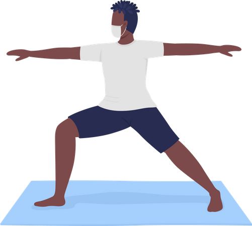 Man in cloth mask performing warrior yoga pose Illustration