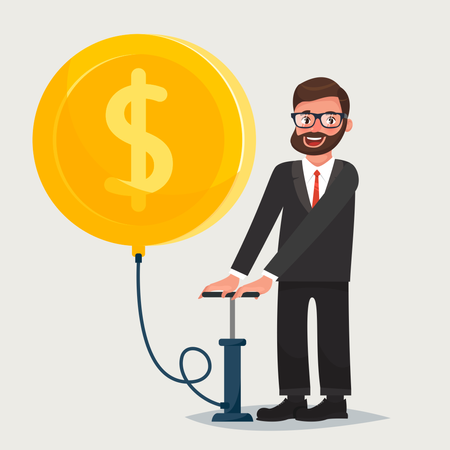 Man in glasses with beard blowing a balloon in the shape of a gold coin Illustration