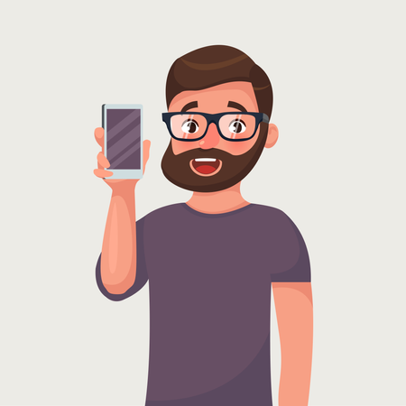 Man in glasses with beard is showing the phone Illustration