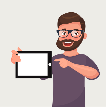 Man in glasses with beard is showing the tablet PC Illustration