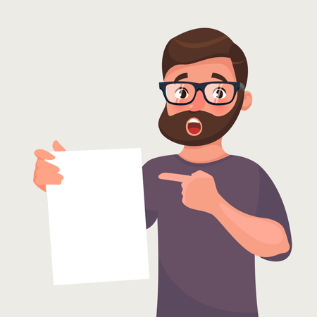 Man in glasses with beard shows a sheet of paper with the contract or other document Illustration