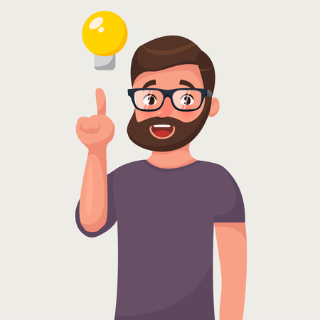 Man in in glasses with beard and a raised finger and bulb Illustration
