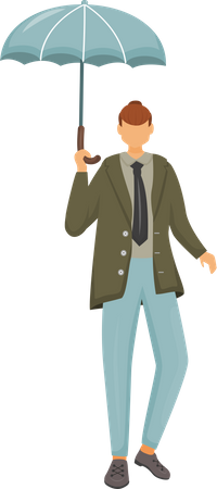 Man in jacket with umbrella Illustration
