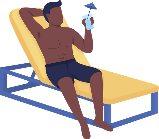 Man in lounger drinks cocktail Illustration