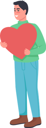 Man in love with heart Illustration