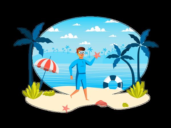 Man in mask holding starfish Illustration