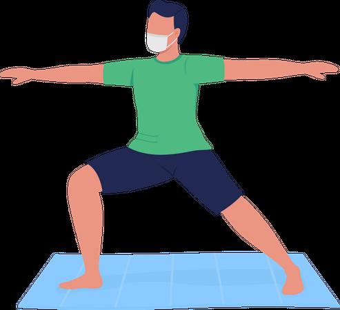 Man in mask practicing yoga Illustration