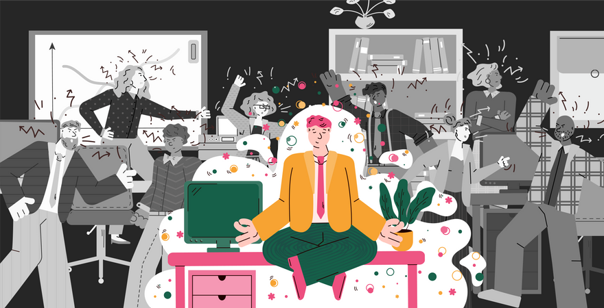Man in office doing meditation yoga while people around are in conflict Illustration
