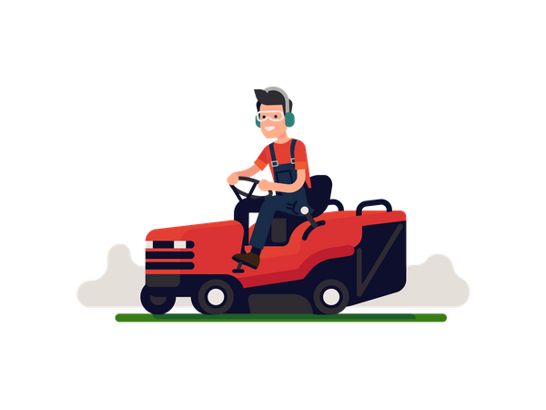 Man in overalls mows lawn grass with ride on mower going back and forth Illustration