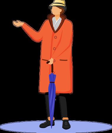 Man in raincoat Illustration
