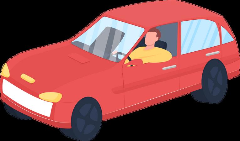 Man in red car Illustration