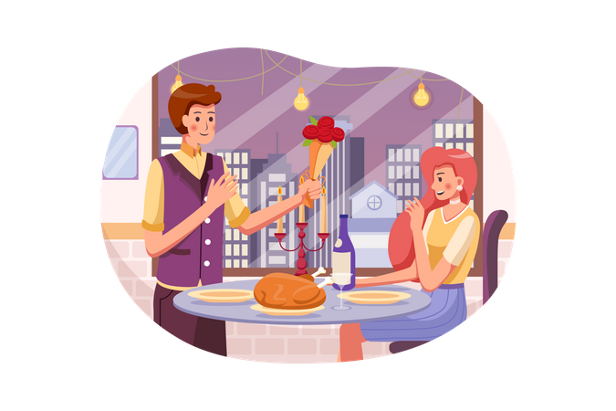 Man in suit gives a bouquet of roses to woman at their Romantic Dining in restaurant Illustration