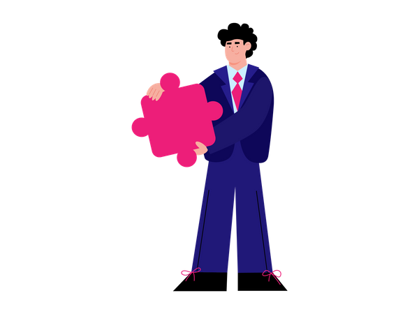 Man in suit holding puzzle Illustration