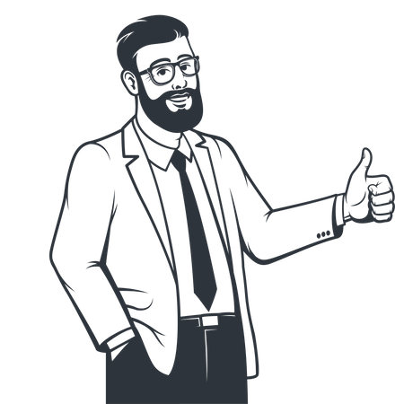 Man in suit showing both thumbs up Illustration