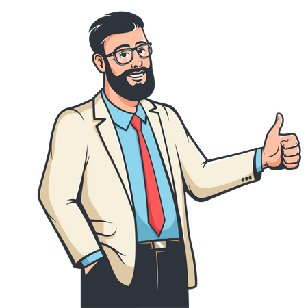 Man in suit showing thumbs up Illustration