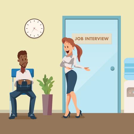 Man in Suit Wait for Job Interview at Door in Corridor Illustration