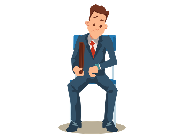 Man in Suit Waiting for Job Interview Illustration
