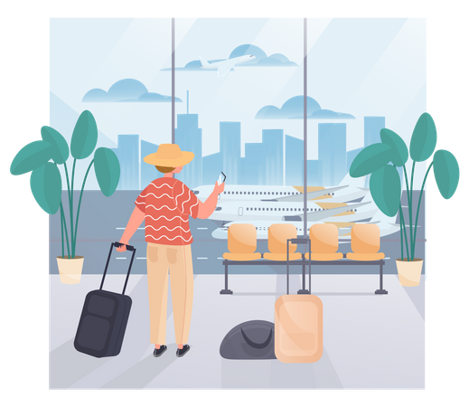 Man In The Airport With Luggage Illustration
