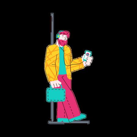 Man in train listening music Illustration