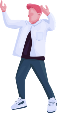 Man in trendy clothes dancing Illustration