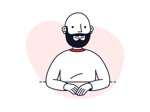 Man in video conference Illustration