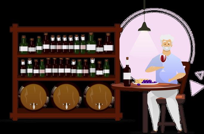 Man in wine cellar Illustration