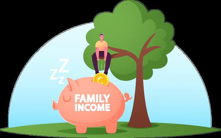 Man Income And Saving Illustration
