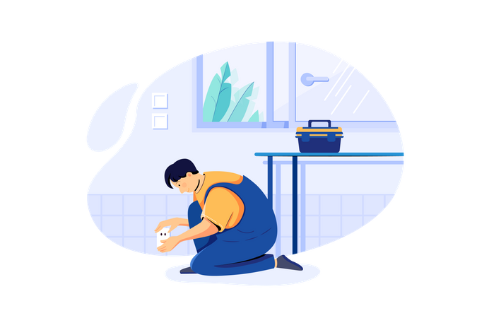 Man installing home security devices Illustration