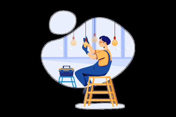 Man Installing light bulbs in new home Illustration