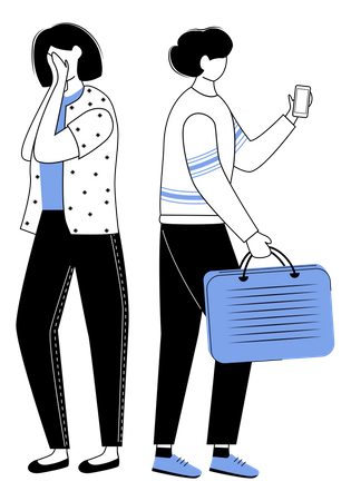 Man is busy with phone Illustration
