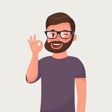 Man is showing a gesture ok Illustration