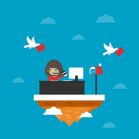 Man Is Working On Island, Online Job Illustration