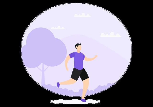 Man Jogging In Park Illustration
