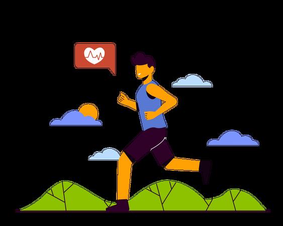 Man jogging on road Illustration