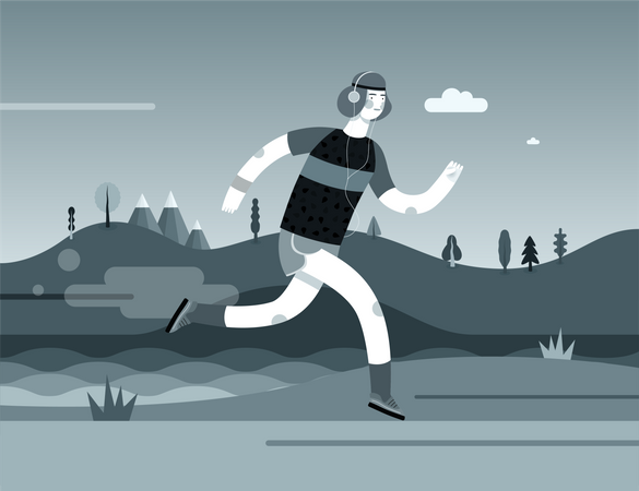 Man Jogging wearing Headphone Illustration