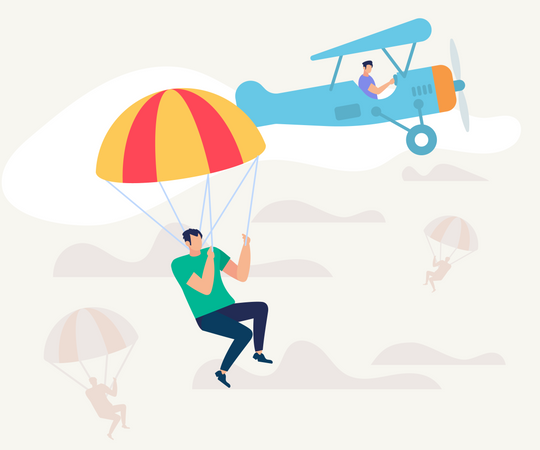 Man Jumped from Airplane with Parachute Illustration