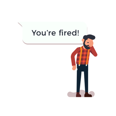 Man just received a message from employer saying he is fired Illustration