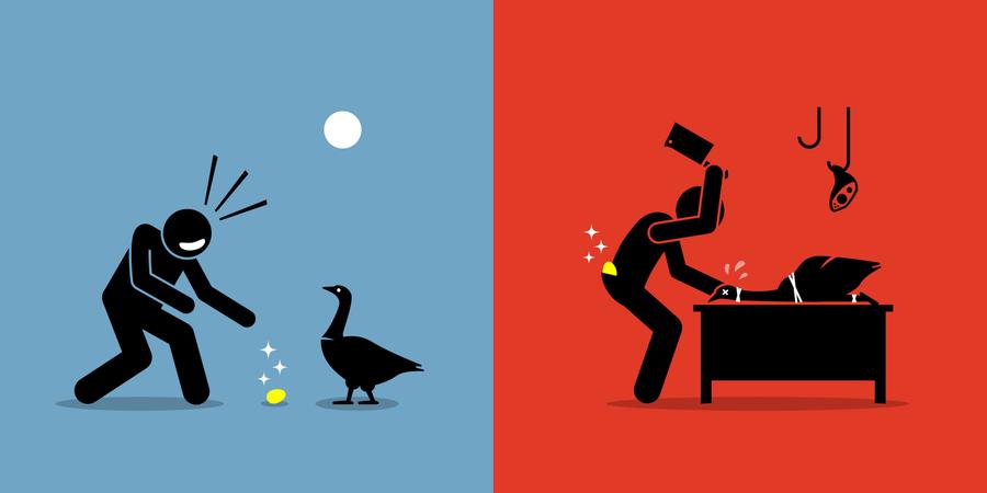 Man Killing a Golden Goose for a Gold Egg Illustration