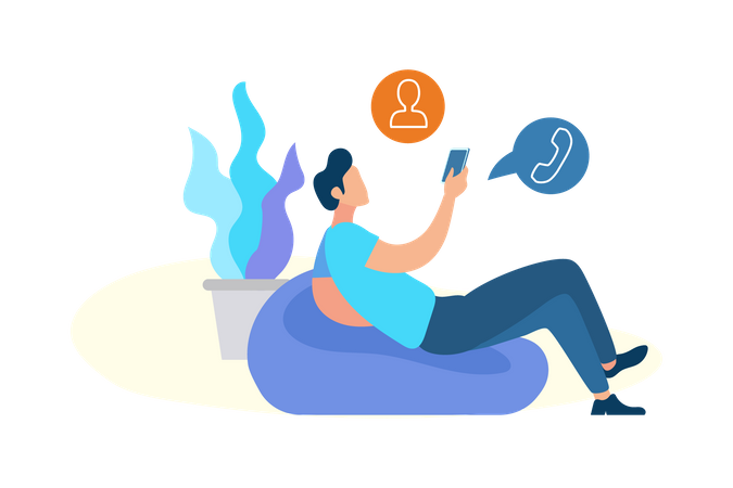 Man laying down on beanbag selecting contact for call in mobile Illustration