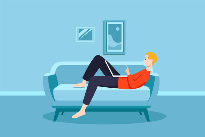 Man Laying on the couch and doing work in laptop Illustration