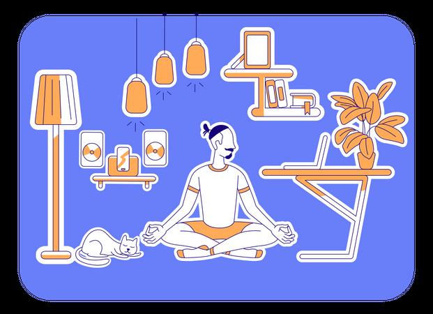 Man learn yoga Illustration