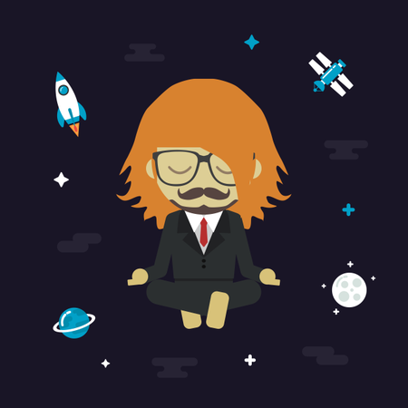 Man Levitating On Relax Space Illustration