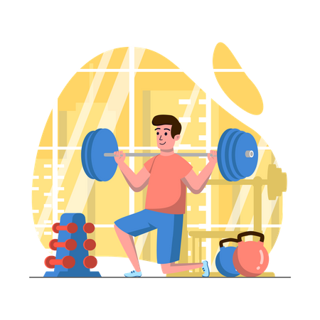 Man lifting weights in gym Illustration