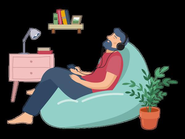 Man listening music while sitting on beanbag Illustration